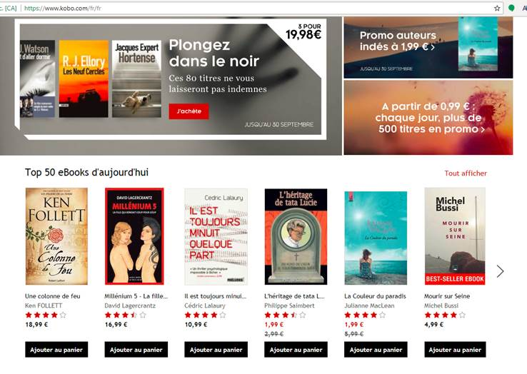 1 Top 3 ventes ebooks